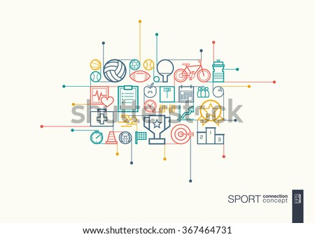 Sport integrated thin line symbols. Modern linear style vector concept, with connected flat design icons. Abstract background illustration for training, tennis, bicycle, soccer, rugby, fitness concept - stock vector