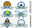 Sport item banners, Part 1. Basketball, soccer, tennis, ice hockey, american football, volleyball - stock vector
