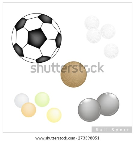 Sport Items, Illustration Collection of 5 Assorted Balls, Football, Golf, Bocce Ball, Pong Ping Ball and Polo Ball Isolated on White Background. - stock vector