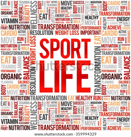 Sport Life word cloud background, health concept - stock vector