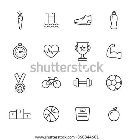 Sport line icons - stock vector