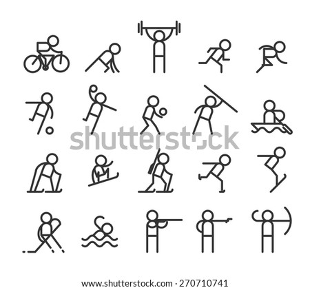 Sport line icons. Modern style. Jogging and weightlifting, barbell and strength, stayer and sprint. Vector illustration - stock vector