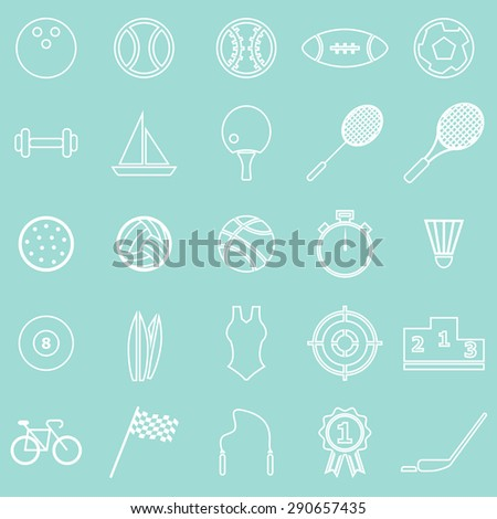 Sport line icons on green background, stock vector - stock vector