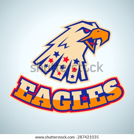 Sport logo with angry eagle head - stock vector