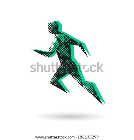 Sport man running abstract isolated on a white background, vector illustration - stock vector