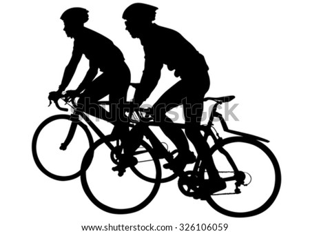 Sport man whit bike on white background - stock vector