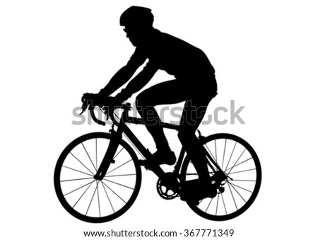 Sport man with bike on white background