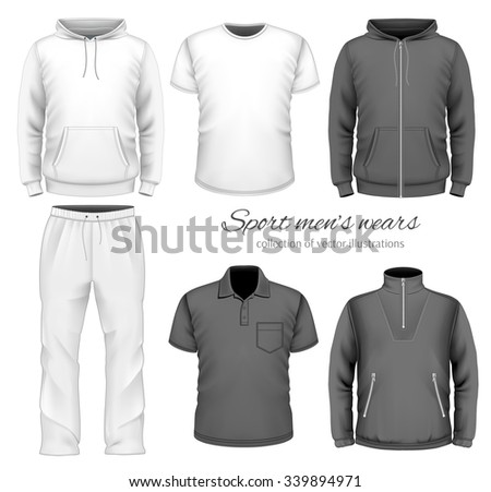Sport men wear collection. Vector illustration