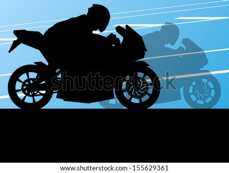 Sport motorbike riders and motorcycles silhouettes illustration background vector - stock vector