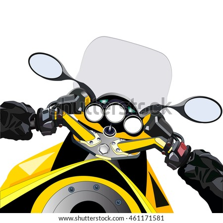 Sport motorcycle first person view. POV yellow motorbike. Vector illustration. Isolated on white.