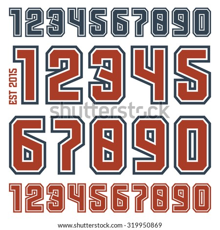 Sport numbers with contour for t-shirt. Color print on white background - stock vector