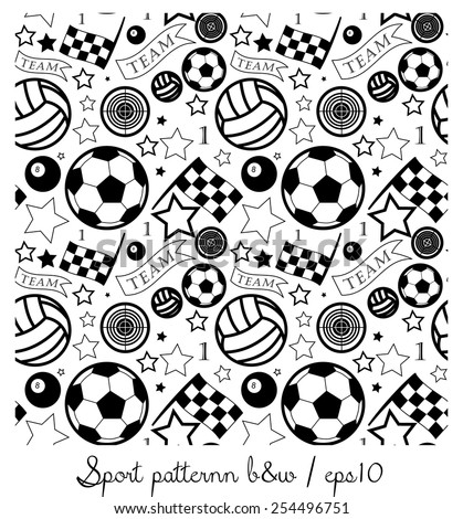 Sport pattern b&w - stock vector