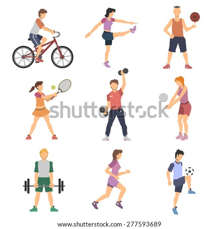 Sport people flat icons set with men and women cycling playing football and tennis isolated vector illustration - stock vector