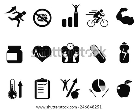sport performance icons set - stock vector