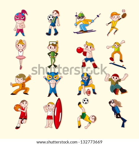 sport player icons set - stock vector