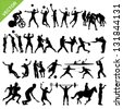 Sport players silhouettes vector - stock photo
