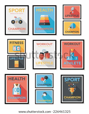 Sport poster flat banner design flat background set, eps10 - stock vector