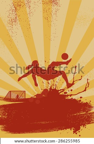 Sport poster, silhouette of woman soccer player performing bicycle kick on grunge background - stock vector
