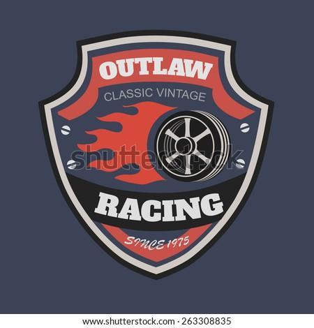Sport racing typography, t-shirt graphics, vectors. T-shirt vintage printing designs - stock vector