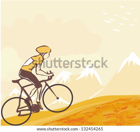 Sport road bike bicycle rider in wild nature landscape - stock vector