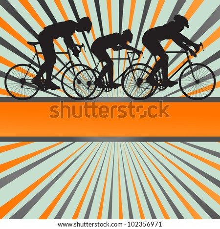 Sport road bike rider bicycle silhouette burst background - stock vector