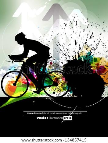 Sport road bike rider bicycle. Vector - stock vector