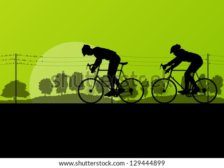 Sport road bike riders and bicycles detailed silhouettes in country wild forest nature landscape background illustration vector - stock vector