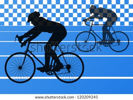 Sport road bike riders bicycle silhouettes in stadium road background illustration vector - stock vector