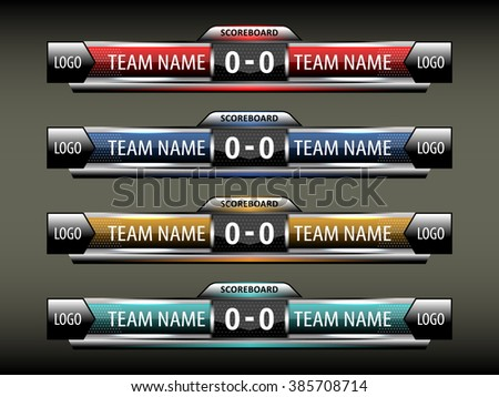 Sport Scoreboard Design Template Football Soccer Stock Vector