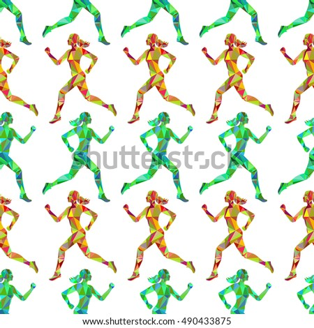 Sport seamless pattern with colorful polygomal running women. Vector illustration