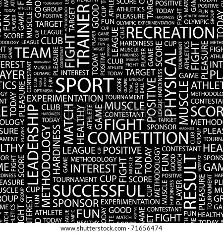 SPORT. Seamless vector pattern with word cloud. Illustration with different association terms. - stock vector