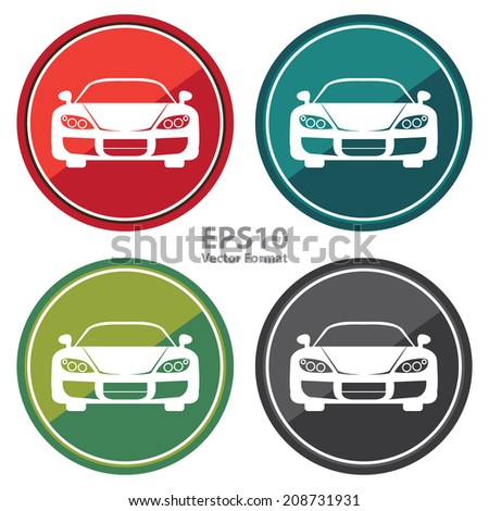 Sport, Sedan Car Sign on Circle Icon, Button, Label Isolated on White, Vector Format - stock vector