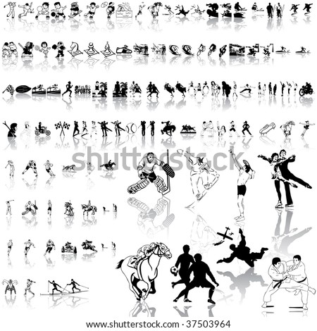 Sport set of black sketch. Part 1. Isolated groups and layers. - stock vector