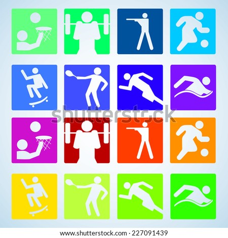 Sport set. Players of different sports. Vector illustration. - stock vector