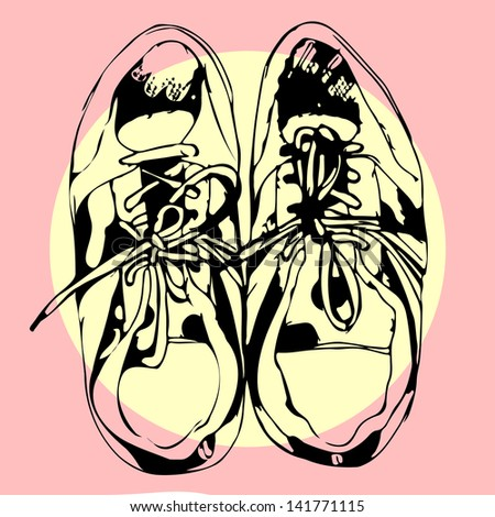 Sport shoes hand drawn sketch on pink, vector illustration - stock vector