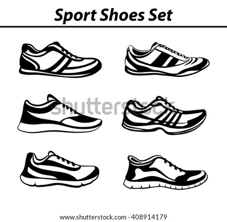 Sport Shoes Set. Fitness Shoes Collection in Black and White. Indoor, Outdoor, Running, Jogging, Fitness, Tennis , Walking, Training Sneakers. - stock vector