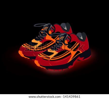 Sport shoes, sneakers. Vector - stock vector
