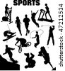 Sport silhouette collage (vector) - stock