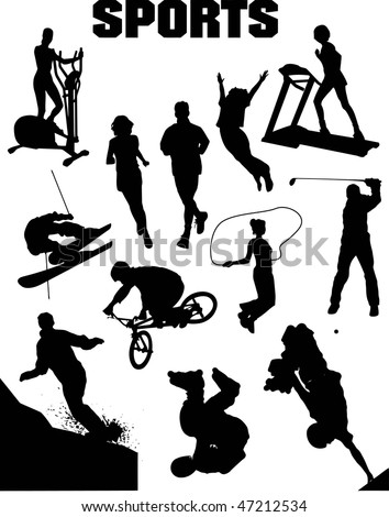 Sport silhouette collage (vector)