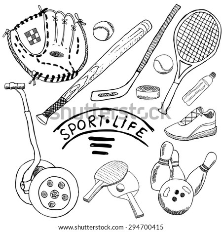 Sport sketch doodles elements. Hand drawn set with baseball bat and glove, segway bowling, hockey tennis items, Drawing doodle collection, isolated on white background. - stock vector