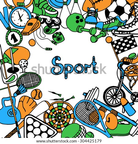 Sport sketch frame with fitness game and competition equipment vector illustration - stock vector