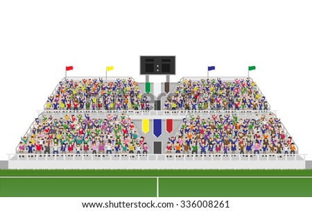 Sport Soccer Fans Cheering In The Grandstand. Isolated on White Background Vector - stock vector