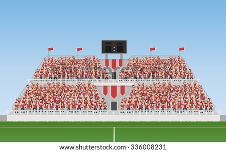 Sport Soccer Fans of Red Team Cheering In The Grandstand. Vector - stock vector