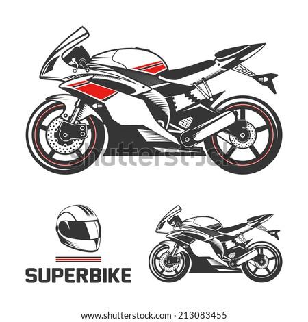Sport superbike motorcycle with helmet. - stock vector