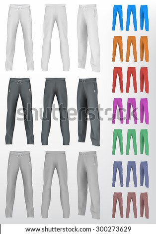 Sport sweatpants set. Isolated background. - stock vector