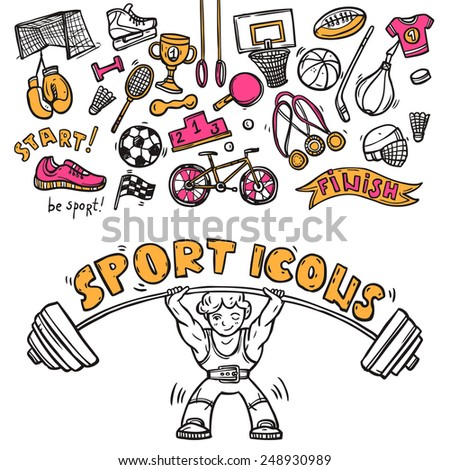 Sport symbols doodle sketch icons of hockey players helmet gymnastics rings and boxer gloves abstract  vector illustration - stock vector