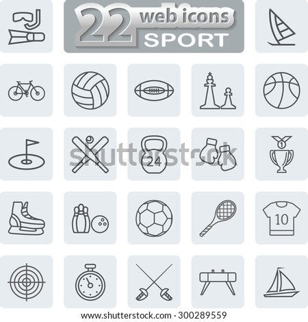 Sport Symbols Icons. Modern Web Collection Isolated on white background. Illustration. Vector EPS10. - stock vector