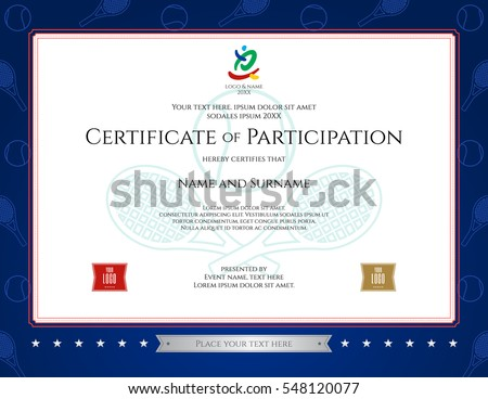 tennis certification  Sport Theme Certification Participation Template Sport Stock ...