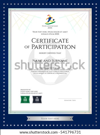 Sport Theme Portrait Certificate Of Participation Template For Football  Match With Gold Star Blue Border  Name A Star Certificate Template