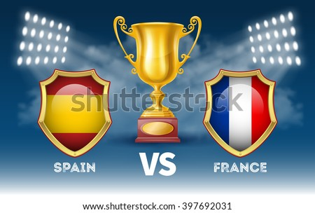Sport Tournament Poster with Golden Trophy Cup in the Spotlight and Emblems of the Participants on Blue Background. Sport Concept. Sport Advertising. Realistic Vector Illustration. - stock vector